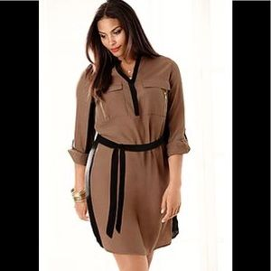 NWOT Lane Bryant Maroon colorblock shirt dress